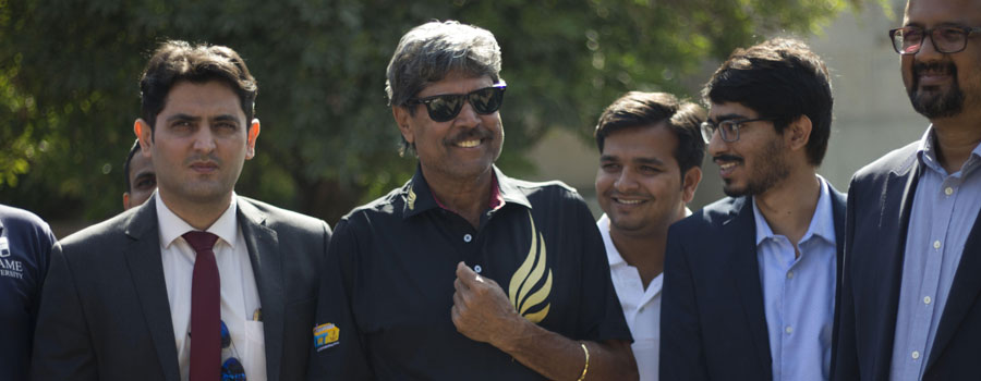 The legend Kapil Dev addresses students